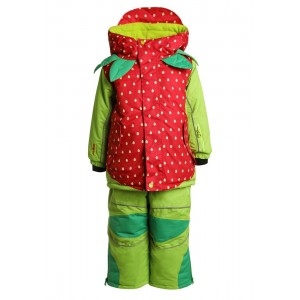 Costum Schi si Snowboard Flashy Stars Strawberry K Verde Rosu