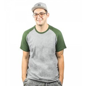 Tricou Barbati Element Basic Raglan SS Gri / Verde