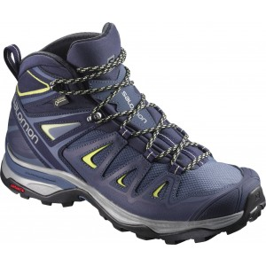 Ghete Femei Hiking Salomon X Ultra 3 Mid GTX Bleumarin / Galben