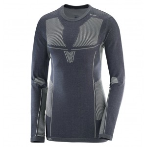 Bluza First Layer Ski Femei Salomon Primo Warm LS CN Gri