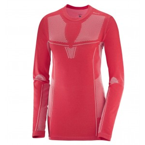 Bluza First Layer Ski Femei Salomon Primo Warm LS CN Rosu