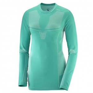 Bluza First Layer Ski Femei Salomon Primo Warm LS CN Verde