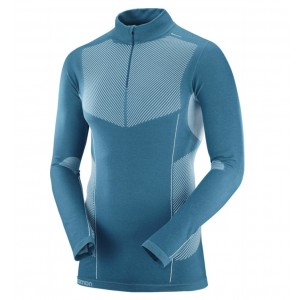Bluza First Layer Ski Barbati Salomon Primo Warm LS HZ Albastru