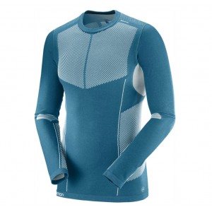 Bluza First Layer Ski Barbati Salomon Primo Warm LS CN Albastru