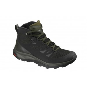 Ghete Barbati Hiking Salomon Outline Mid GTX Negru / Verde / Gri