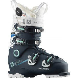 Clapari Ski Femei Salomon X Pro 80W Custom Heat Connect Albastru 2019