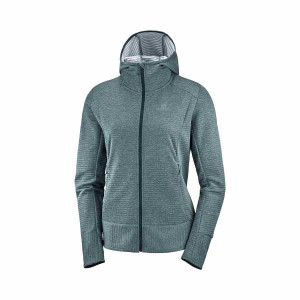 Salomon Hanorac Drumetie Femei Right Nice Mid Hoodie W Green Gables (Verde)