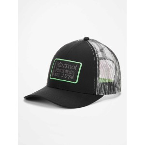 Sapca Marmot Retro Trucker Hat Black/Racing Stripes (Multicolor)