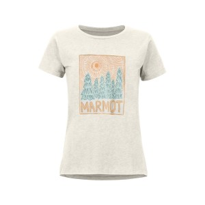 Tricou Drumetie Femei Marmot Woodblock Tee SS Turtledove Heather (Alb)