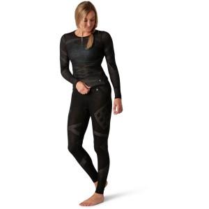 Pantaloni First Layer Femei Smartwool Intraknit Merino 200 Bottom Black-White (Negru)