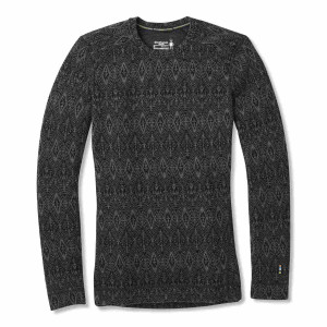 Bluza First Layer Femei Smartwool Merino 250 Base Layer Pattern Black Medallion (Negru)