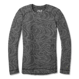 Bluza First Layer Femei Smartwool Merino 250 Base Layer Pattern Black Snow Swirl (Gri)