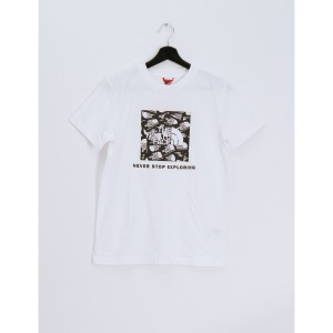 Tricou Drumetie Copii The North Face Youth Box Short Sleeve Tee Tnf White Label Toss Print (Alb)