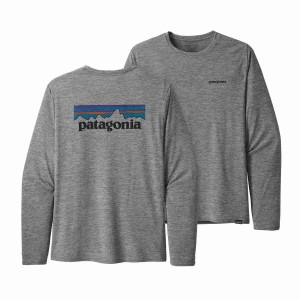Bluza Drumetie Barbati Patagonia L/S Capilene Cool Daily Graphic Shirt P-6 Logo Feather Grey (Gri)