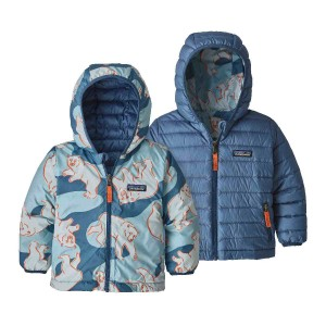 Geaca Puf Reversibila Copii 0-5 ani Patagonia Baby Reversible Down Sweater Hoody Polar Bears Play / Woolly Blue (Multicolor)