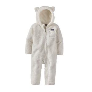 Combinezon Copii Patagonia Baby Furry Friends Bunting Birch White (Alb)