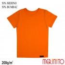 Tricou Copii Merinito 200G 50% Lana Merinos 50% Bumbac Portocaliu