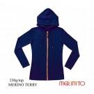 Hanorac Femei Merinito Merinos Terry 230G 100% Lana Merinos Albastru
