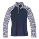 Bluza First Layer Multisport Femei Smartwool Femei's Merino 250 Baselayer Pattern 1/4 Zip Boxed Bleumarin
