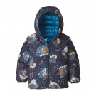 Geaca Puf Reversibila Copii 0-5 ani Patagonia Baby Reversible Down Sweater Hoody Stories by Starlight / New Navy (Multicolor)
