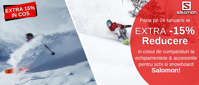 Extra 15% reducere la echipamente schi/ski , ski si snowboard salomon