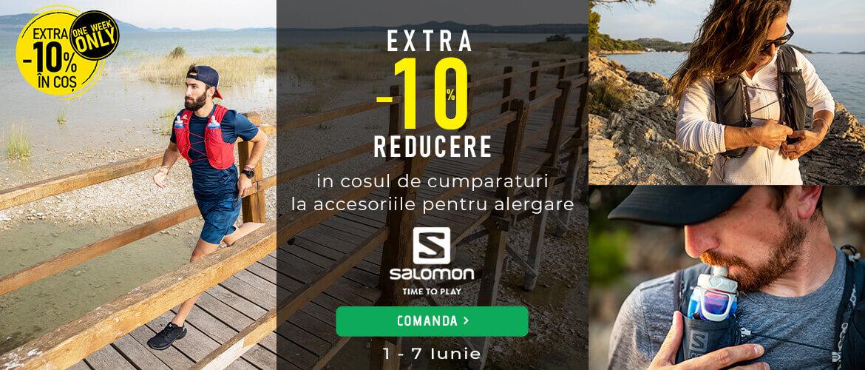 Extra 10% in cosul de cumparaturi la accesorile pentru alergare Salomon