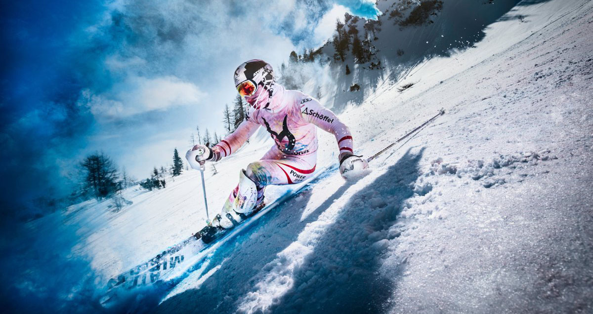 Marcel Hirscher performs during a video shoot at Reiteralm in Austria on 24th of March, 2015.